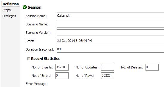 ODI Execution CalcScript 1 month