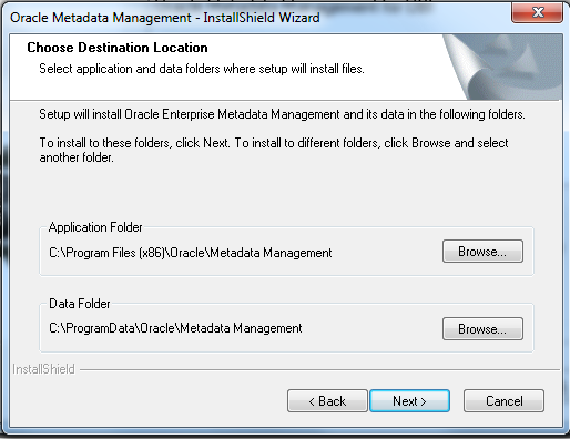 OEMM Installation and Data folder selection