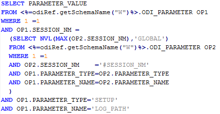 Query ODI_PARAMETER global