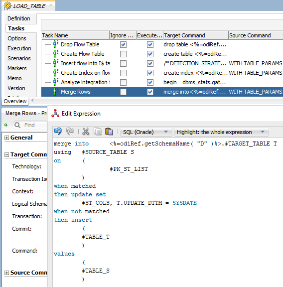 Building dynamic ODI code using Oracle metadata dictionary